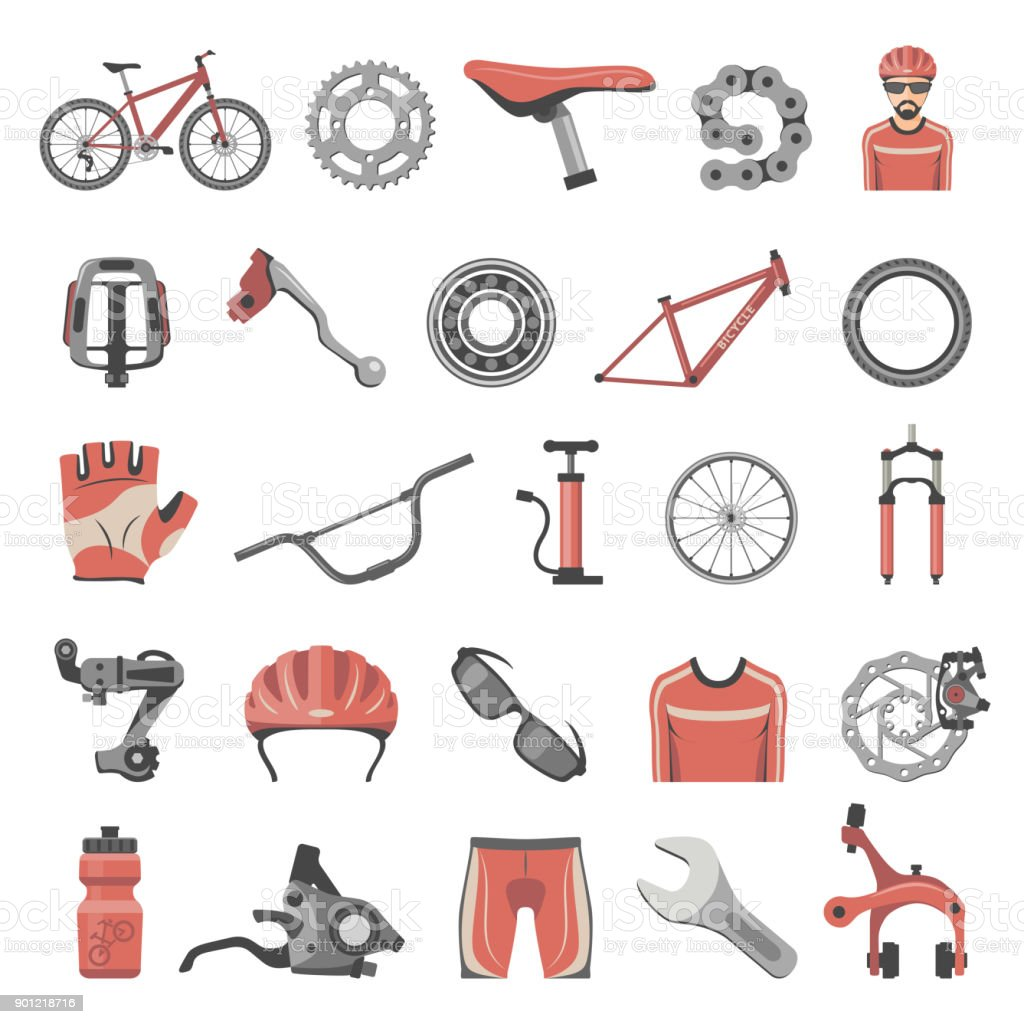 Flat Icons - Bicycle Parts vector art illustration