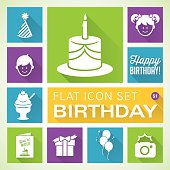 A vector illustrations of Birthday icons. There are separate layers for easier editing.