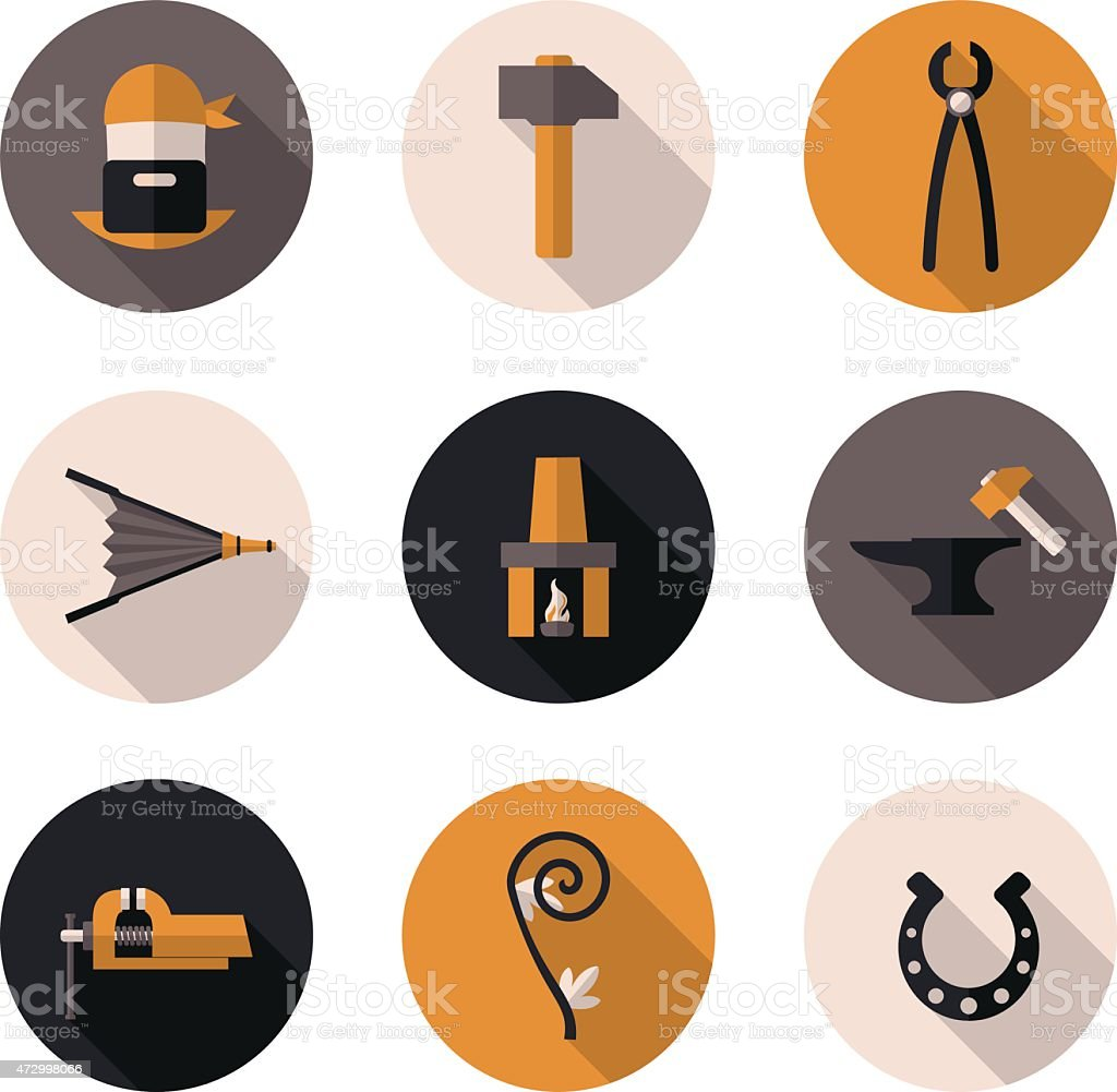 flat icons blacksmith vector art illustration