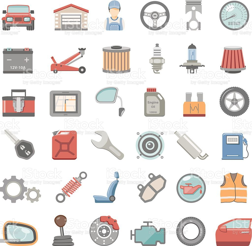Flat Icons - Car Maintenance vector art illustration