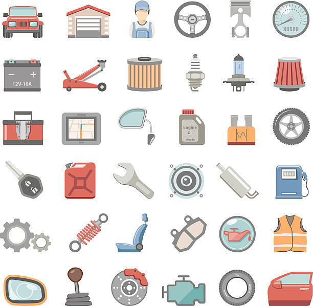 Flat Icons - Car Maintenance Car parts icon set vehicle door stock illustrations