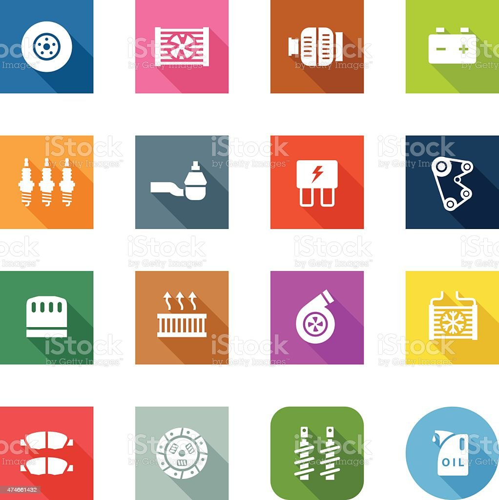 Flat Icons Car Maintenance Stock Vector Art Amp More Images