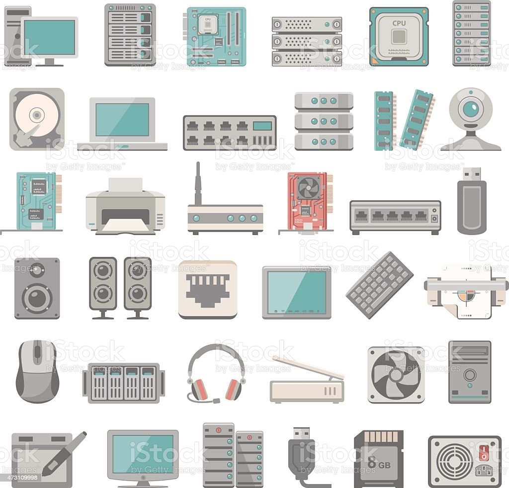 Flat Icons - Computer and Network Hardware vector art illustration