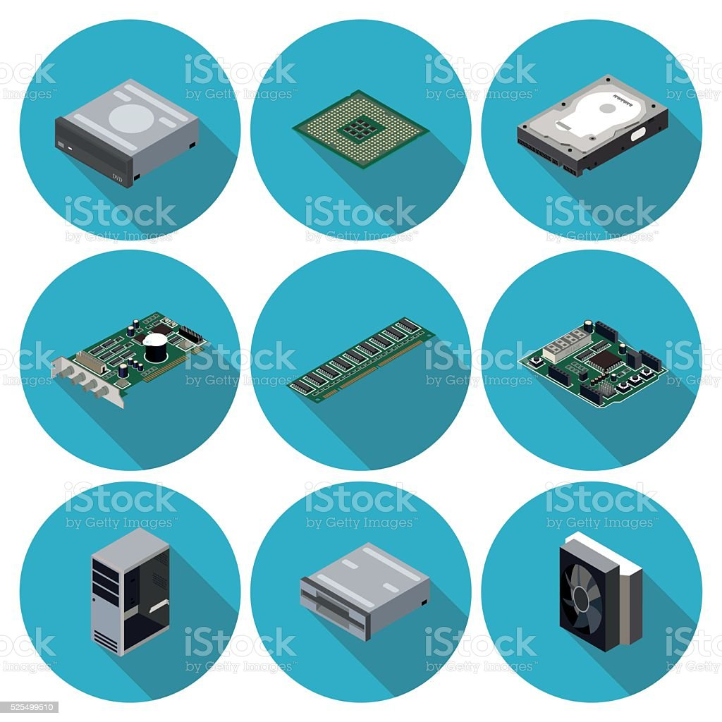 flat icons computer components royalty-free flat icons computer components stock illustration - download image now