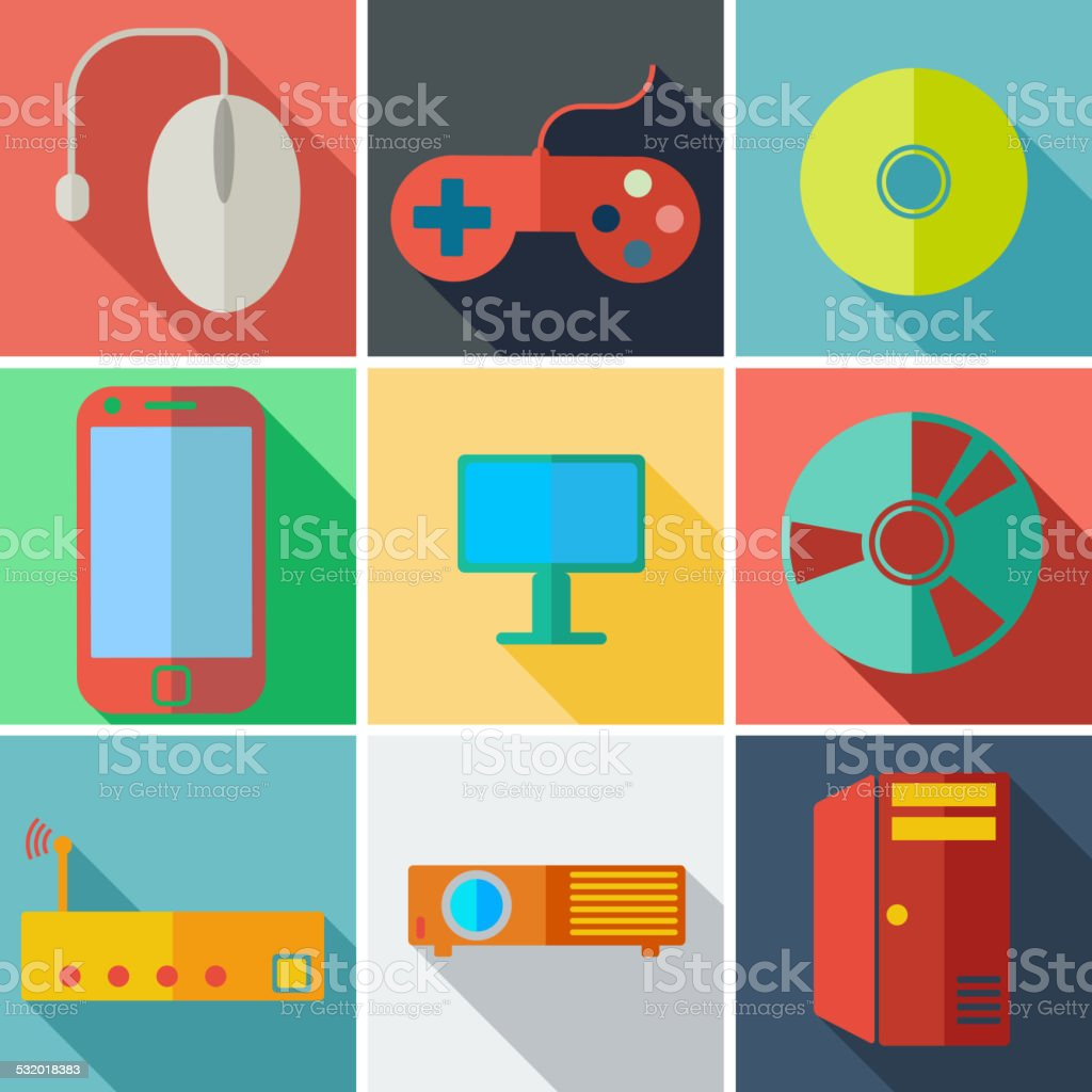 flat icons computer mobile technology vector art illustration