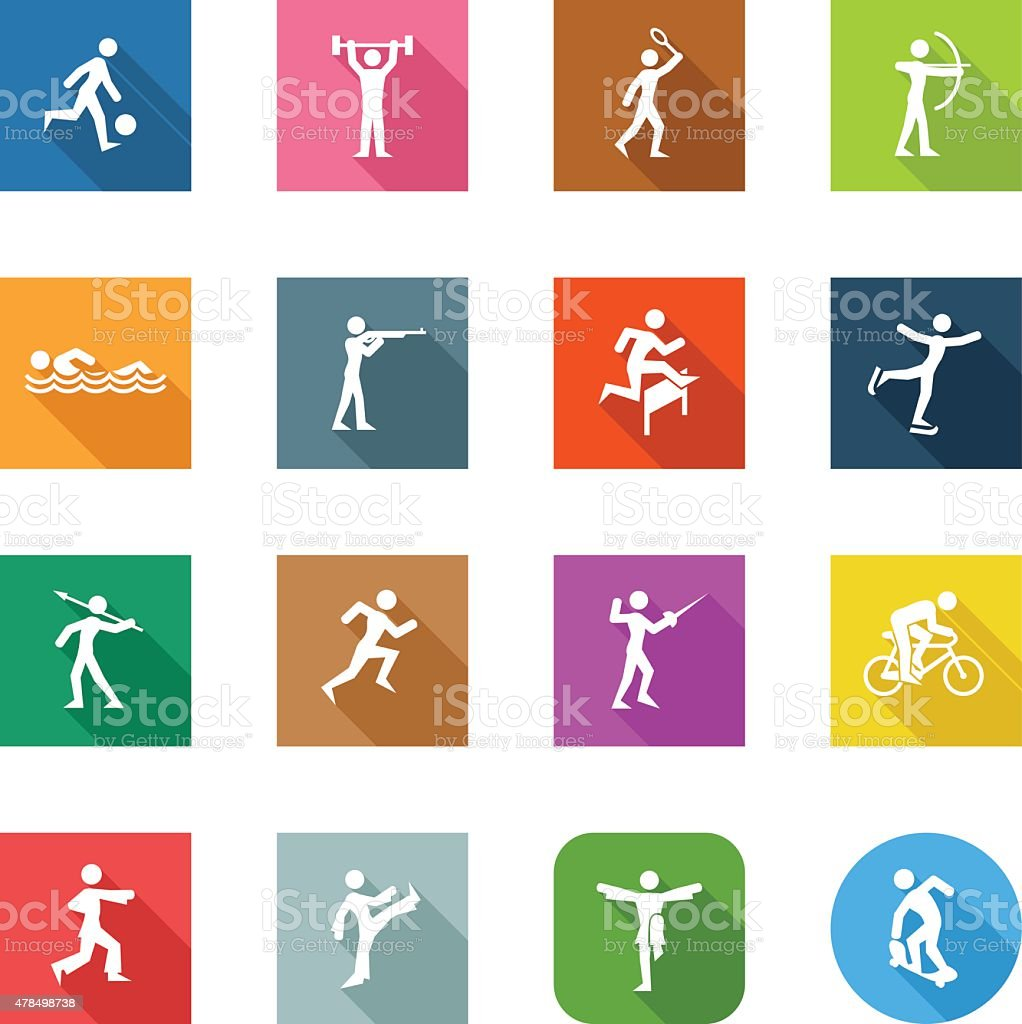 Flat Icons - Different Sports vector art illustration