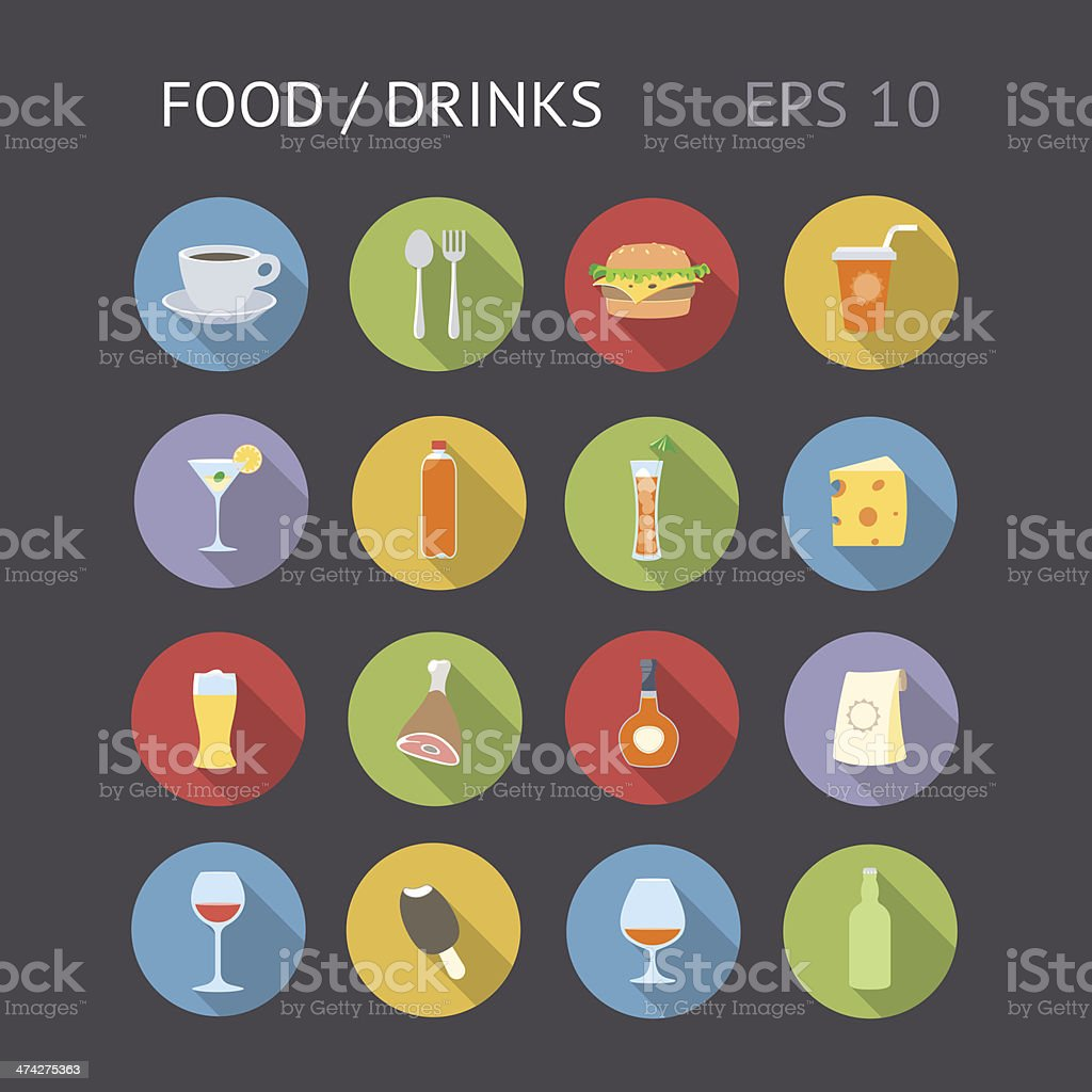 Flat Icons For Food and Drinks vector art illustration