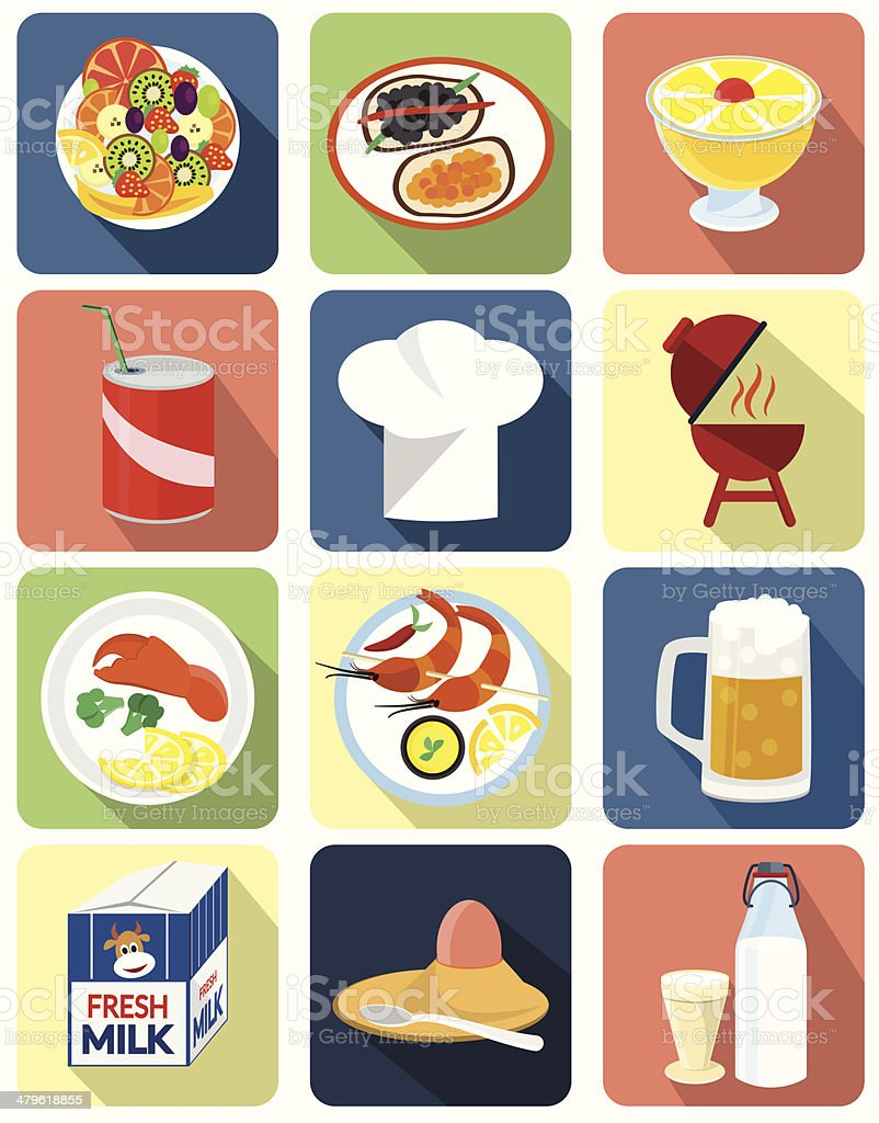 Flat icons for food vector art illustration