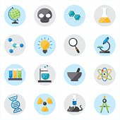 Flat Icons For Science Icons Vector Illustratio
