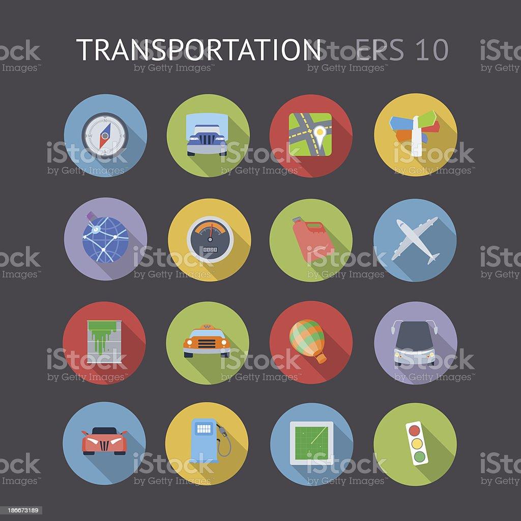 Flat Icons For Transportation vector art illustration