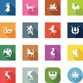Flat Icons - Heraldic Animals