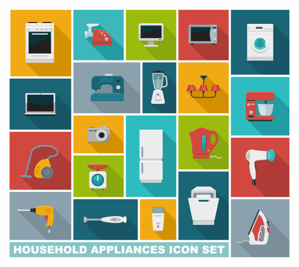 flache symbole haushaltsgeräte - küchenmixer stock-grafiken, -clipart, -cartoons und -symbole
