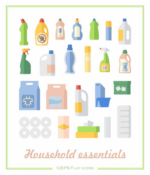 flat icons household chemicals and paper products - bleach stock illustrations