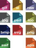 flat icons  image formats set