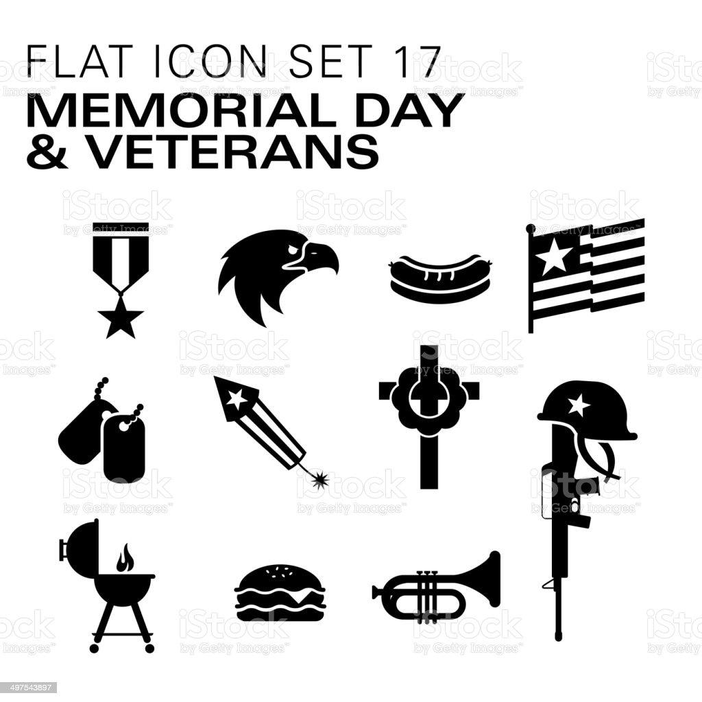 Flat icons Memorial Day & Veterans vector art illustration