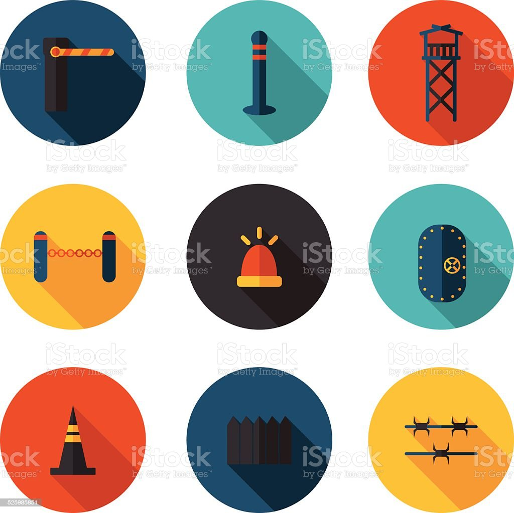 flat icons methods of protection vector art illustration