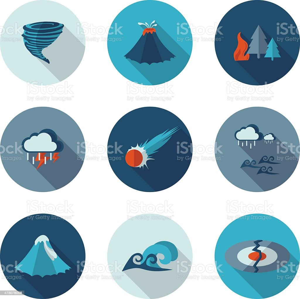 flat icons natural disasters vector art illustration