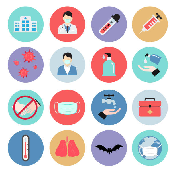 flat icons of Coronavirus or COVID-19. vector illustration flat icons of Coronavirus or COVID-19. vector illustration covid icon stock illustrations