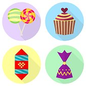 Flat icons of cupcake, lollipop and chocolate candy. Vector illustrations of sweets.