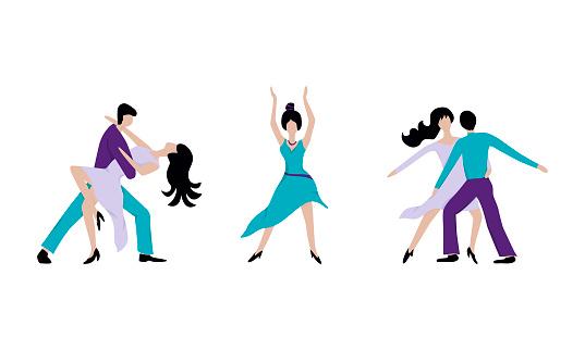 Flat icons of dancing men and women