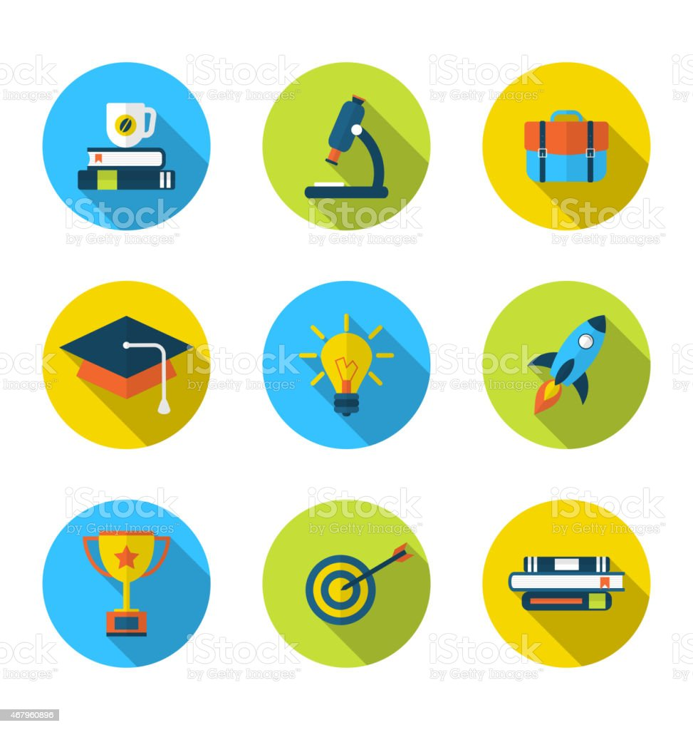 Flat Icons of Elements and Objects for High School vector art illustration