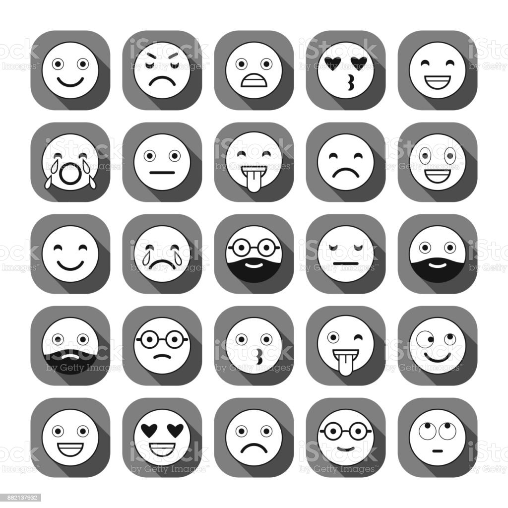 Flat icons of emoticons. Smile with a beard, different emotions, moods. vector art illustration