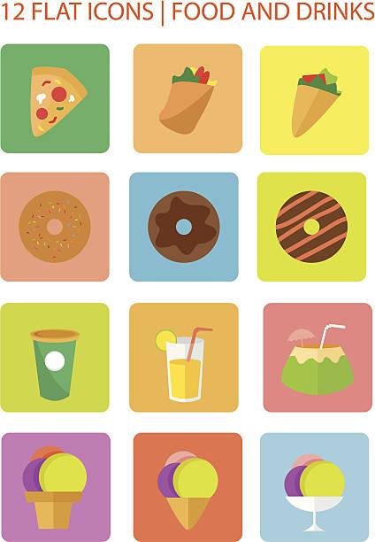 flach symbole für essen und getränke - chimichanga stock-grafiken, -clipart, -cartoons und -symbole