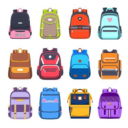 Flat icons of school bags and backpacks, handbags