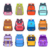 School bags and backpacks, handbags and rucksacks vector flat icons. College and school boy and girl student bags with pockets, zippers and straps, travel luggage and haversacks