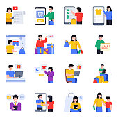 A fantastic collection of shopping characters flat icons is exclusively presented with the flat characters. The visuals in this set are vector based and of course customizable and color. So, shop this compact and use in relevant niche.