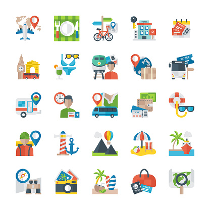 Flat Icons Of Travelling