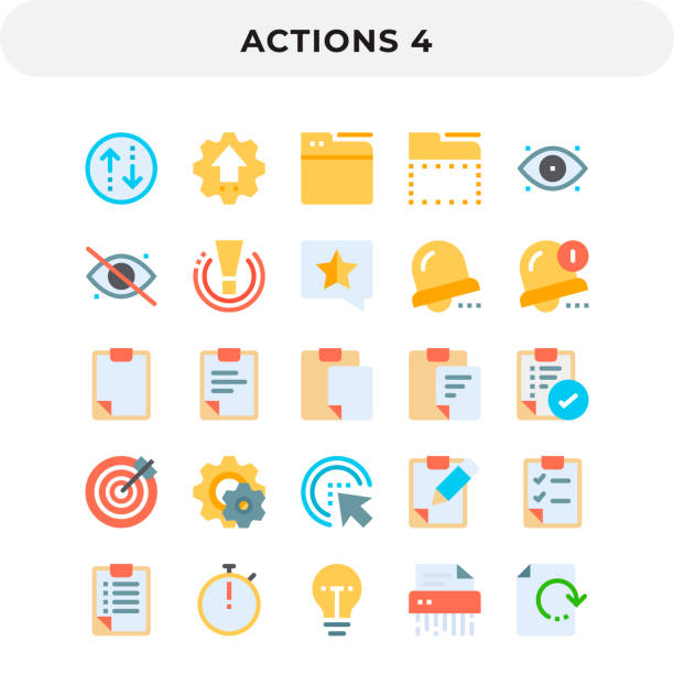 Flat Icons Pack for UI. Pixel perfect vector icon set for web design and website application. vector art illustration