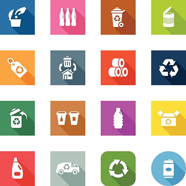 flache icons-recycling - altglas stock-grafiken, -clipart, -cartoons und -symbole