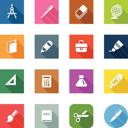 Flat Icons - School Supplies