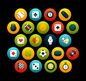Flat icons set 12 - sport and game collection, for phone watch or tablet, isolated on black background
