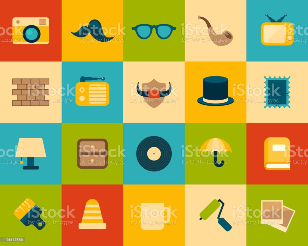 Flat icons set 14 vector art illustration