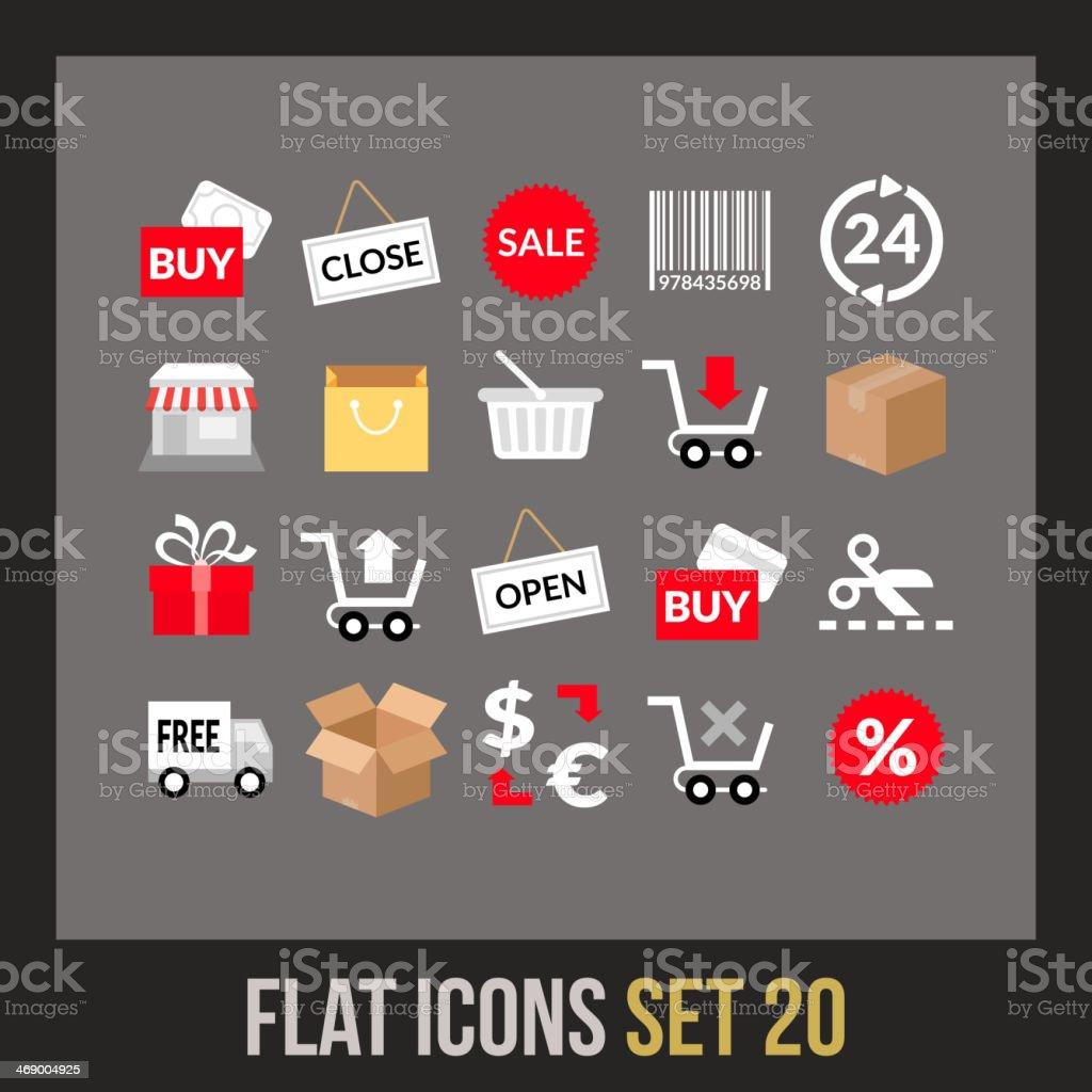 Flat icons set 20 vector art illustration