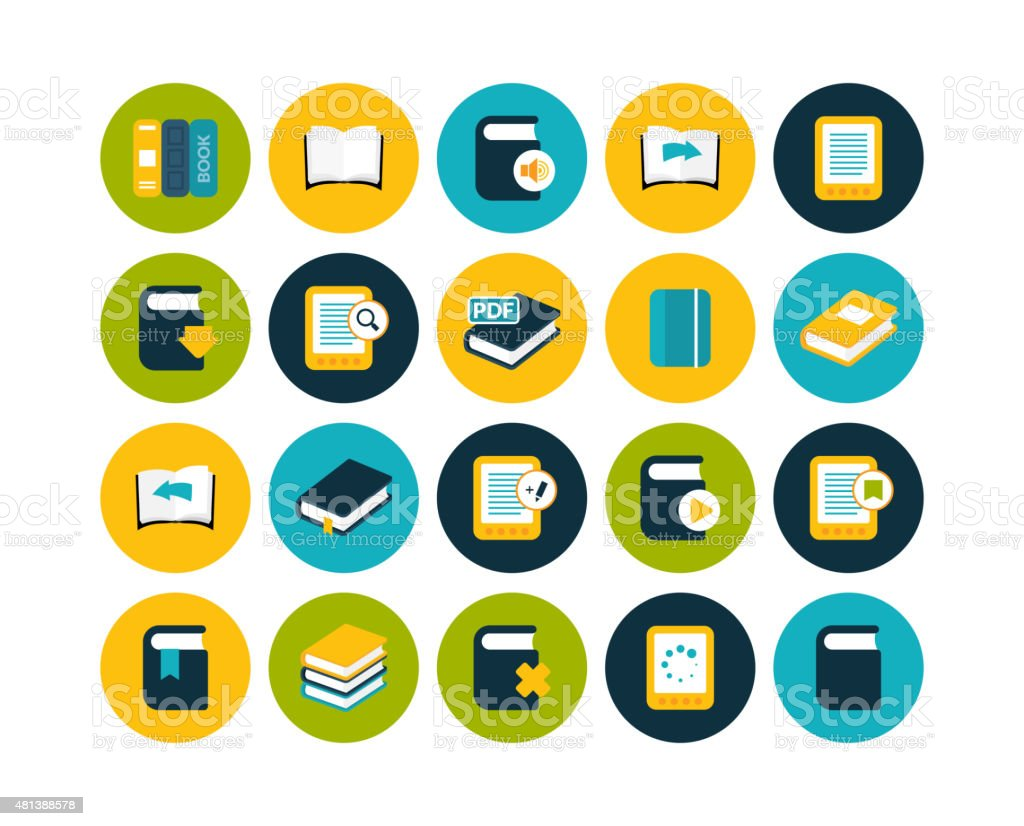 Flat icons set 21 Flat icons vector set 21 - book collection 2015 stock vector