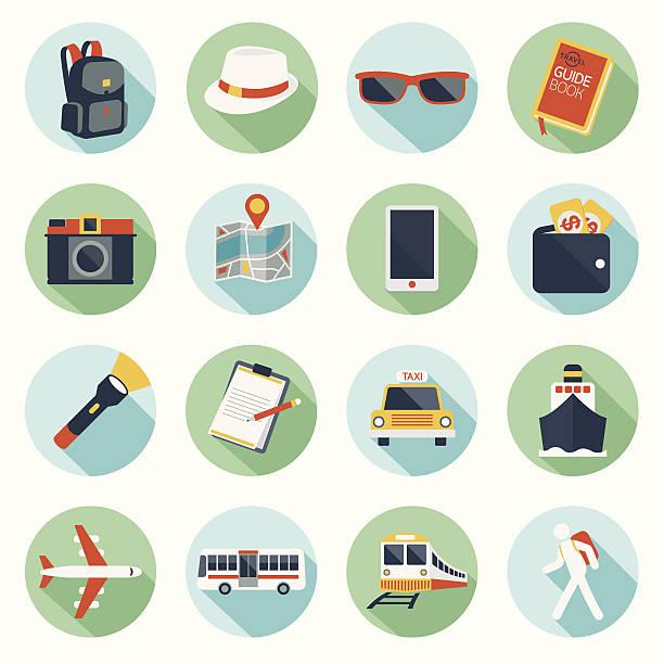 flache icons set: rucksacktourist, ausflüge & reisen - fotografieanleitungen stock-grafiken, -clipart, -cartoons und -symbole