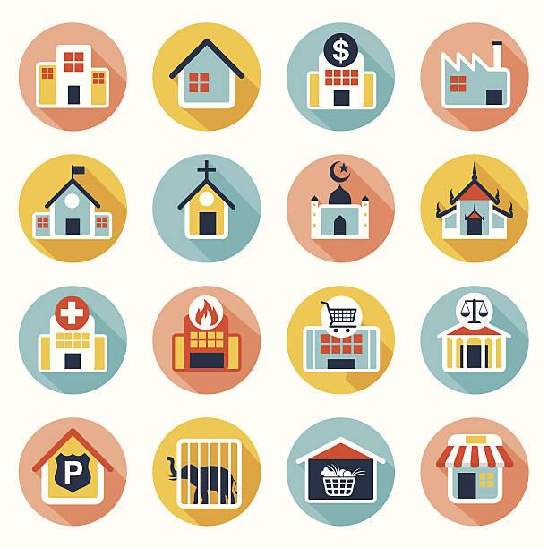 illustrations, cliparts, dessins animés et icônes de plat icônes set :  building, de la destination, de la place pour carte - commissariat
