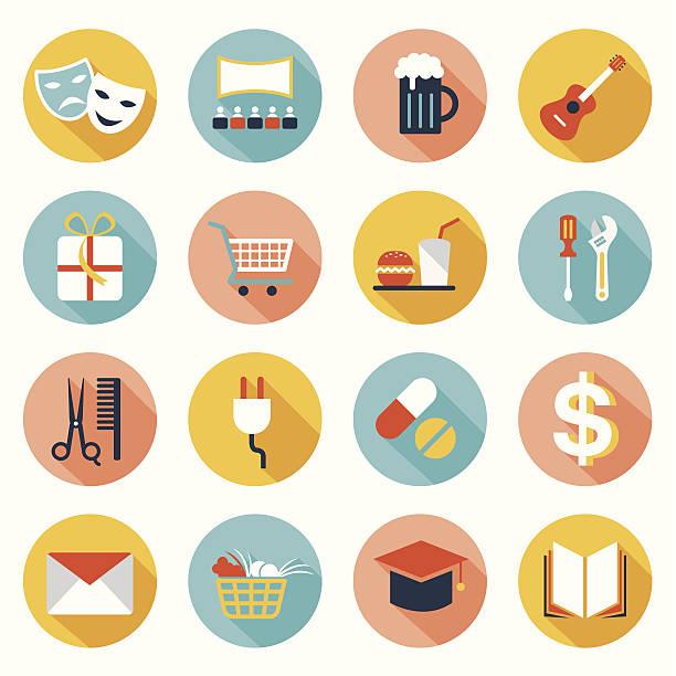 illustrazioni stock, clip art, cartoni animati e icone di tendenza di set di icone piatte: destinazione, luogo per mappa - banchi scuola