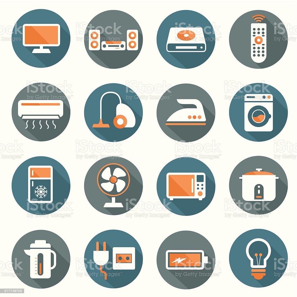 Flat icons set : Electronic Objects vector art illustration