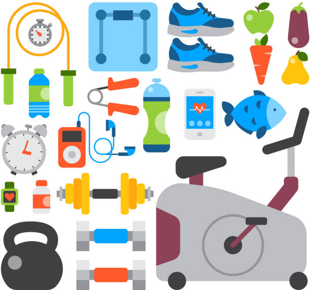 Flat icons set of fitness sport and healthy lifestyle exercise diet food supplements well-being body modern design style vector icons collection Flat icons set of fitness sport and healthy lifestyle exercise diet food supplements well-being body modern design style vector icons collection. Isolated on white background weight equipment. training equipment stock illustrations
