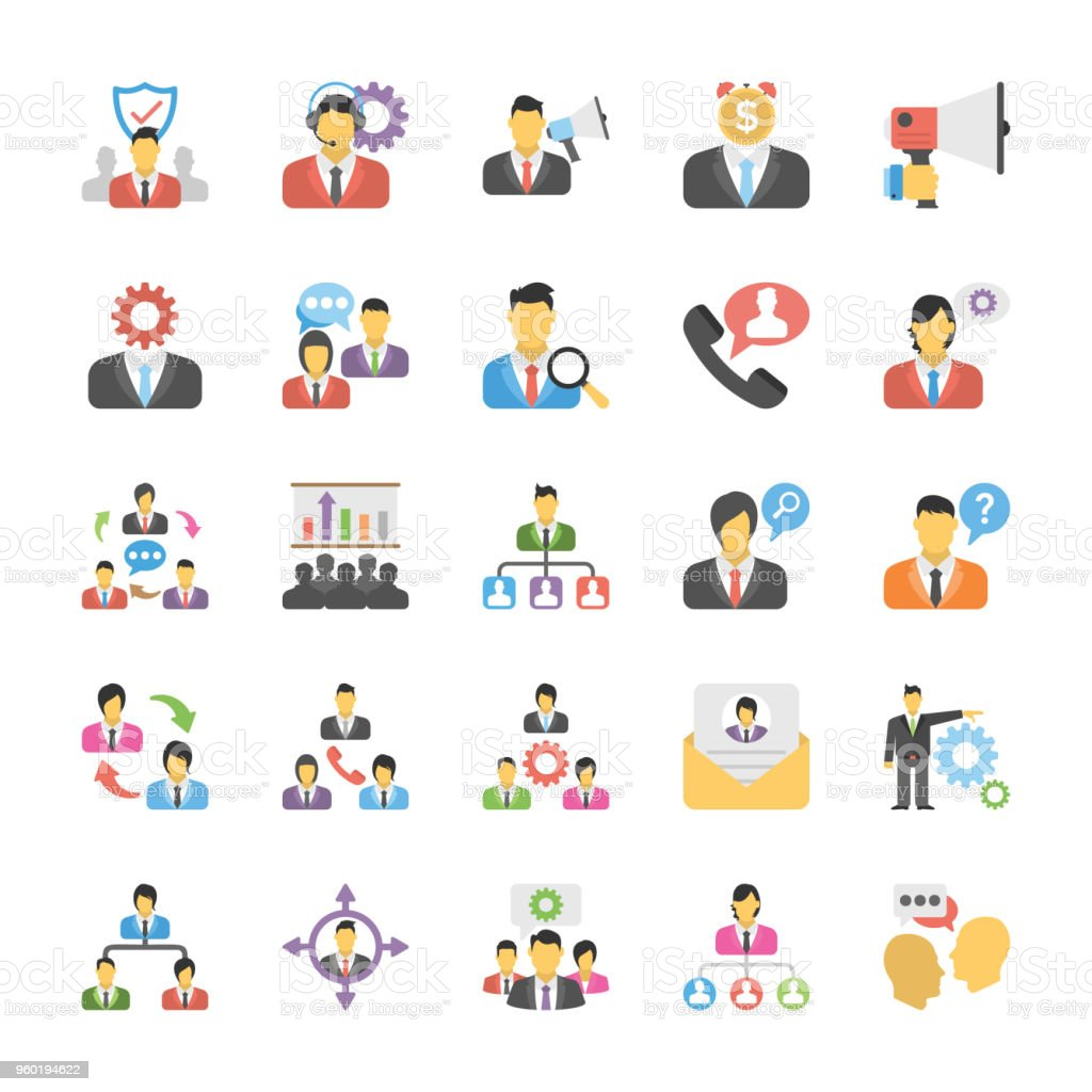 Flache Icons Set von Human Resource – Vektorgrafik