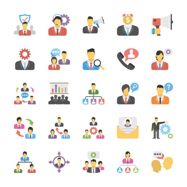 flache icons set von human resource - projektmanager stock-grafiken, -clipart, -cartoons und -symbole