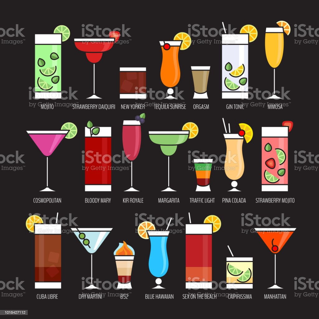 Inspiring Beliebte Cocktails Reference Of Flache Icons Set Alkohol Cocktail Auf Schwarzem