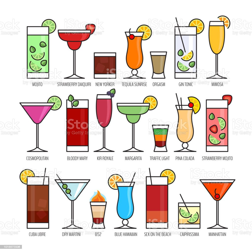 Gorgeous Beliebte Cocktails Reference Of Flache Icons Set Alkohol Cocktail Auf Schwarzem