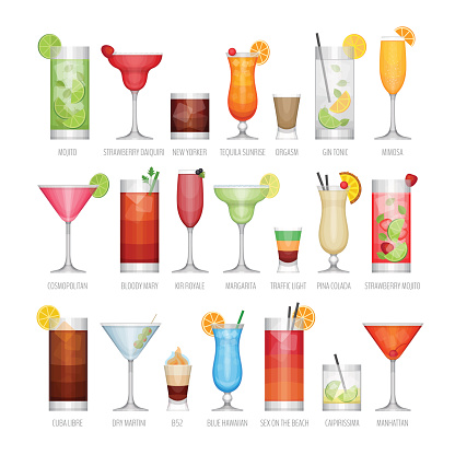 Different alcohol cocktail. Drinks and beverages.