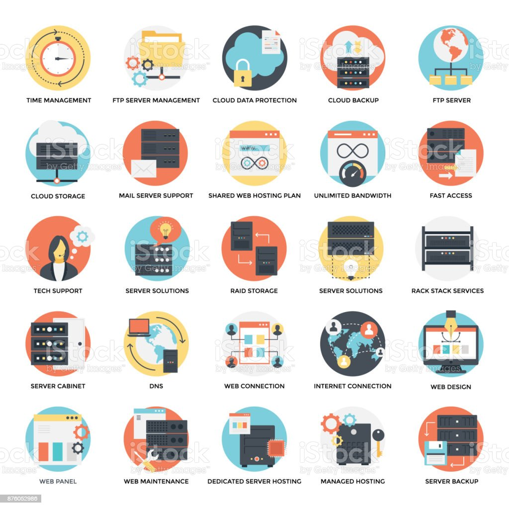 Flat Icons Set of Web Hosting This flat icons set encompasses wide range of designs for web hosting. This set has web hosting graphic images at its best. Backup stock vector