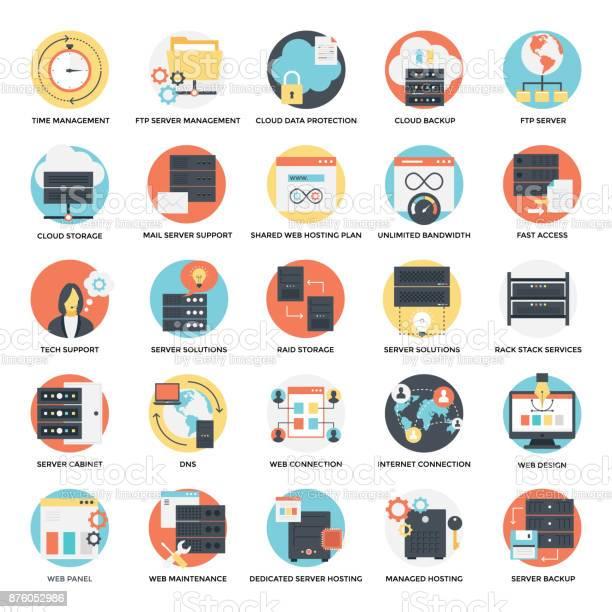 Flat Icons Set Of Web Hosting Stock Illustration - Download Image Now